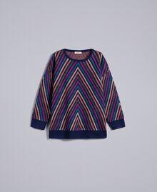 Pull jacquard à rayures lurex multicolores Jacquard Rayure Lurex Bleu Femme TA838H-0S