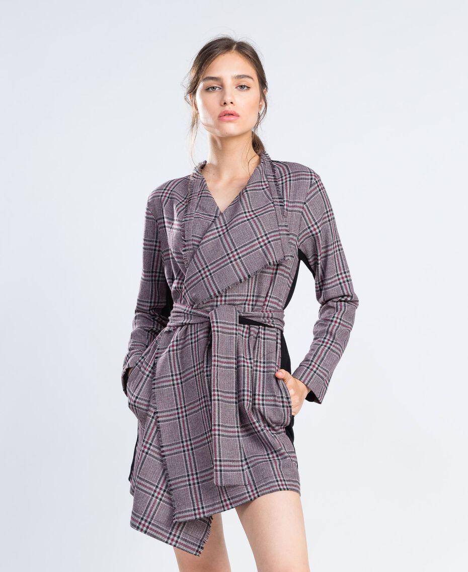 """Scottish flannel dressing gown """"Reddish"""" Red Tartan Print Woman LA8NEE-0S"""