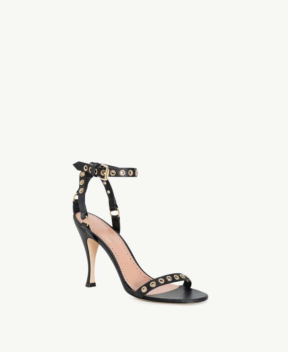 TWINSET Laminated sandals Black Woman CS8TAE-02