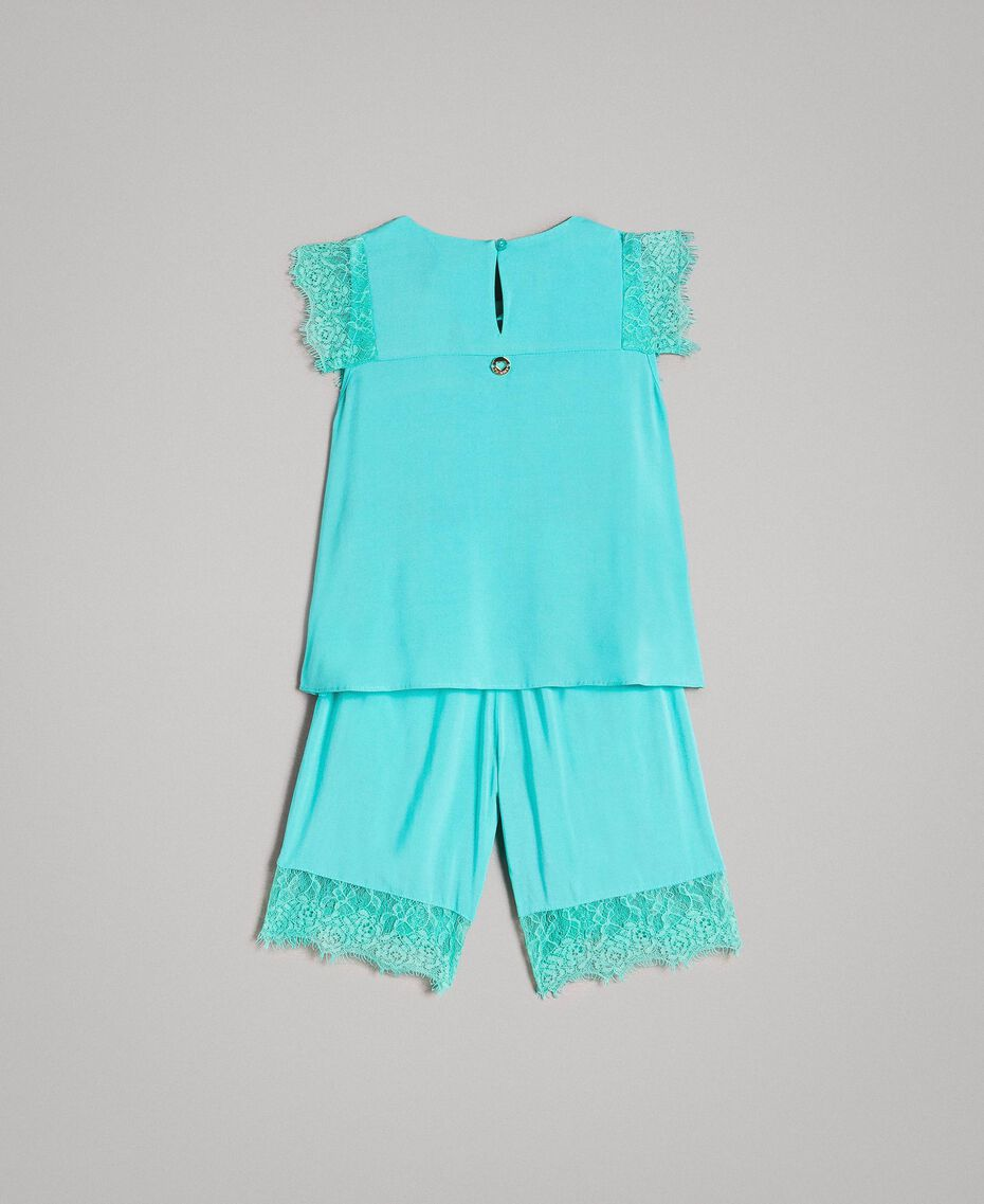 "Blouse and cropped trousers with lace ""Island Paradise"" Light Blue Child 191GB2431-0S"