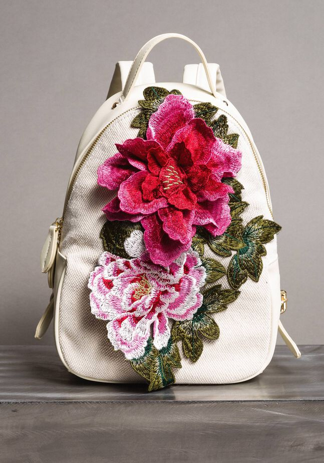 Canvas backpack with flowers