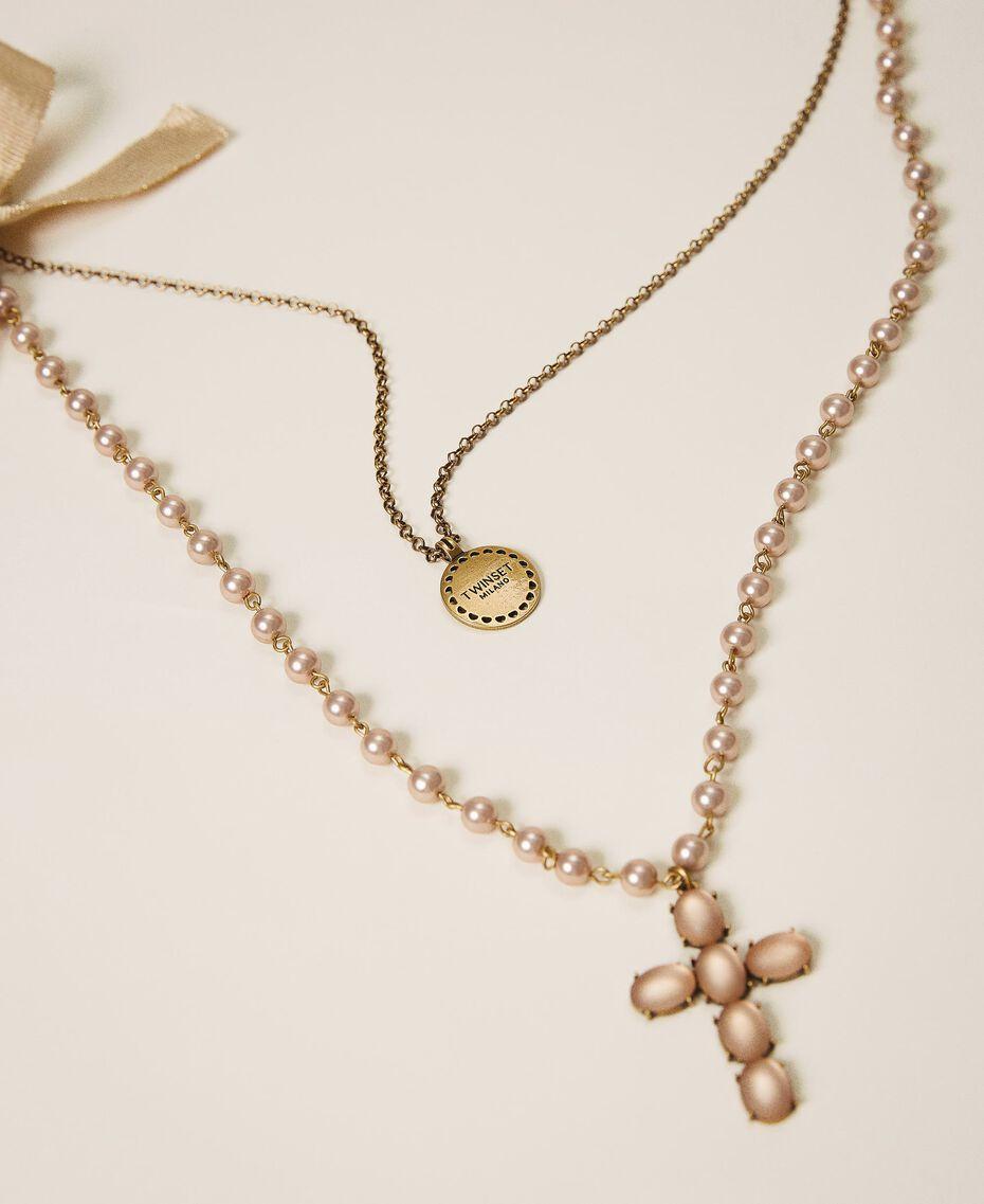 Collier avec charm, croix et nœud Noir Femme 202TA4315-02