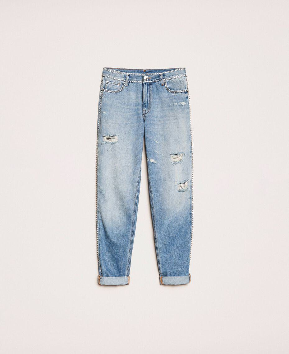 Jean girlfriend strassé Bleu Denim Femme 201MP2275-0S
