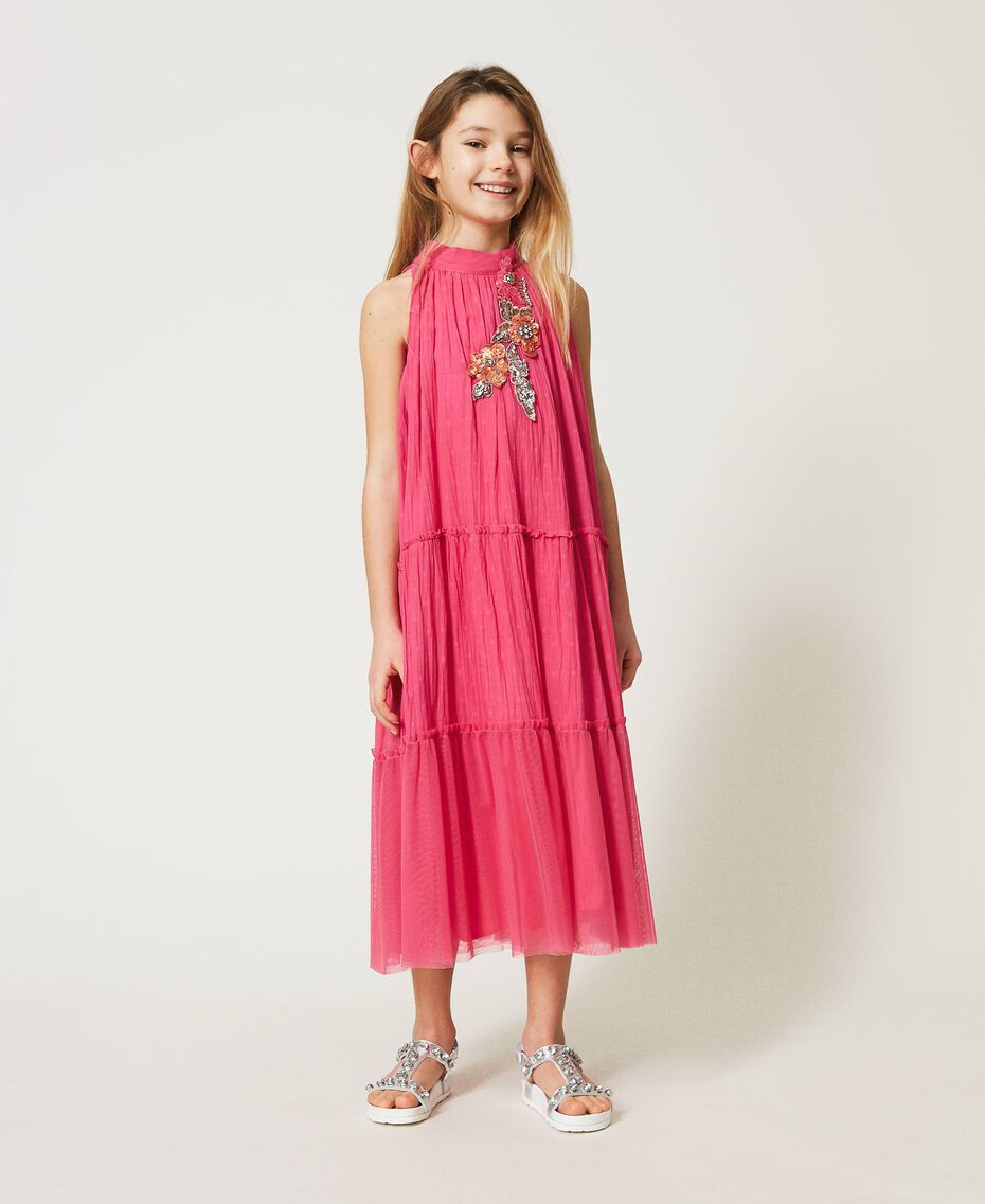 """Muslin long dress with patch embroidery """"Fuchsia Purple"""" Pink Child 211GJ2QC2-01"""