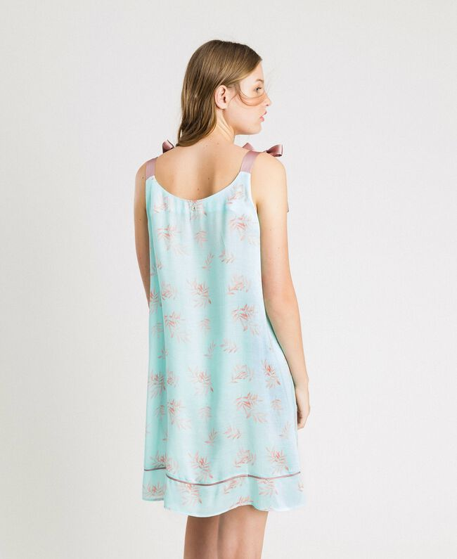 Floral jacquard nightgown Mousse Blue Leaf Print Woman 191LL2FAA-03