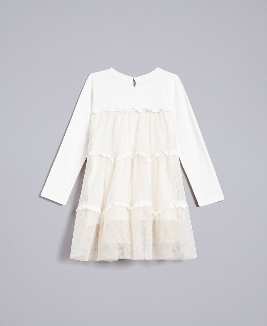 Jersey and tulle dress Bicolour White / Gold Lurex Child FA82L2-0S