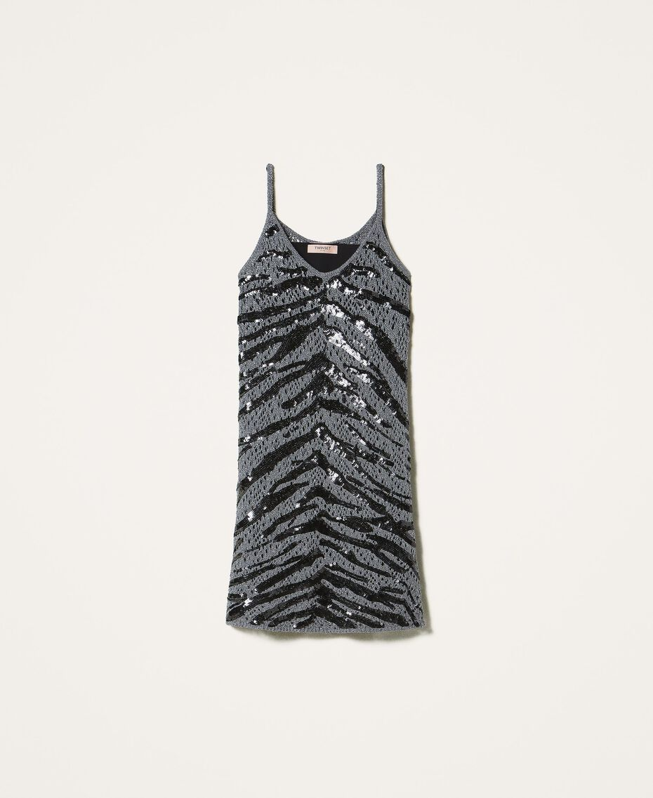 Платье-комбинация, расшитое пайетками, с животным узором Серый Оружейный ствол женщина 202TP3150-0S