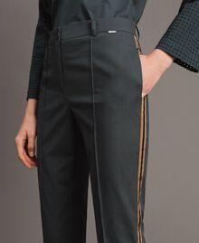 Pantalon en popeline à coupe cigarette Sous-bois Femme 191ST2040-03