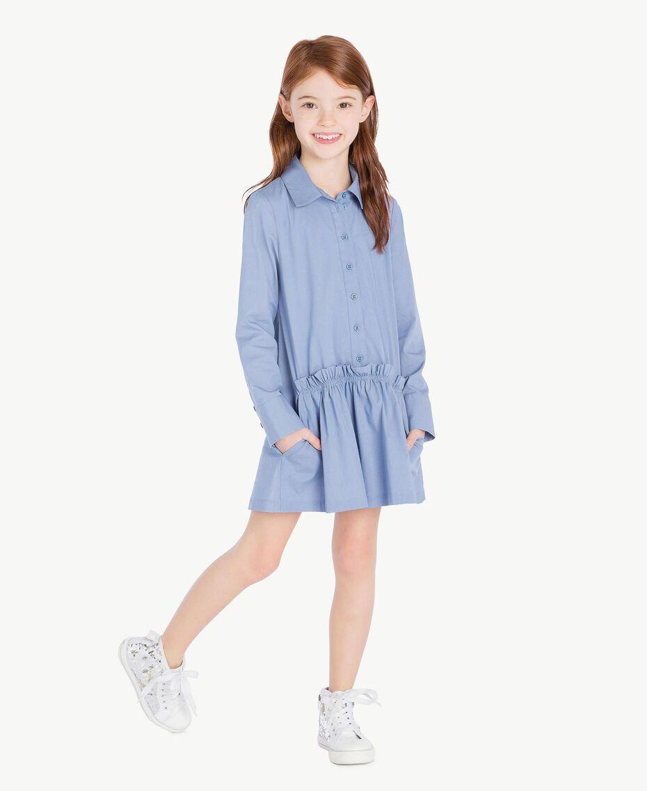 Kleid aus Popeline Unendlichkeits-Azur Kind GS82QR-02