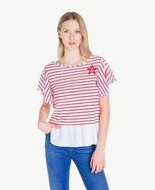 T-Shirt mit Streifen Streifen Optisches Weiß / Hochrot Frau JS82RG-01