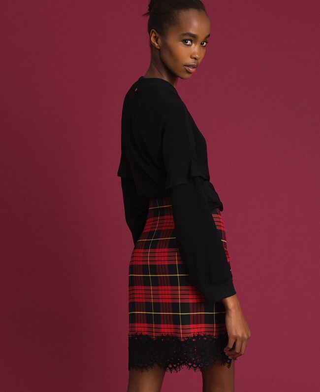 Chequered wool high waist skirt Pomegranate Tartan Jacquard Woman 192TP2624-03