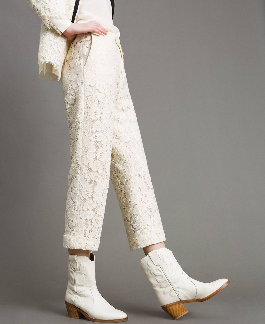 Pantaloni cropped in pizzo macramè Bianco Neve Donna 191TP2255-05