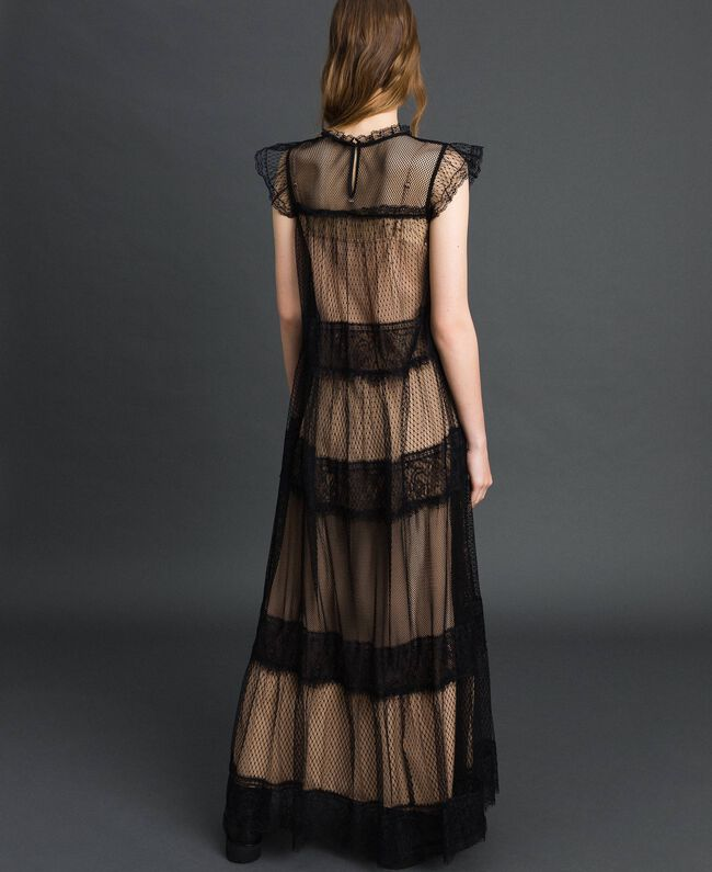 Long dress with tulle, lace and plumetis patch Two-tone Black / Nude Woman 192TP2332-03
