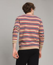 "Crêpe cotton striped jumper Multicolour Porcelain Beige / ""Dark Raspberry"" Red Man 191UT3033-03"