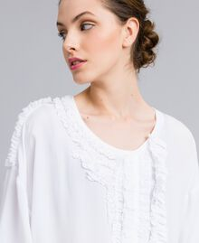 Silk and jersey blouse with ruches White Woman PA82DC-04