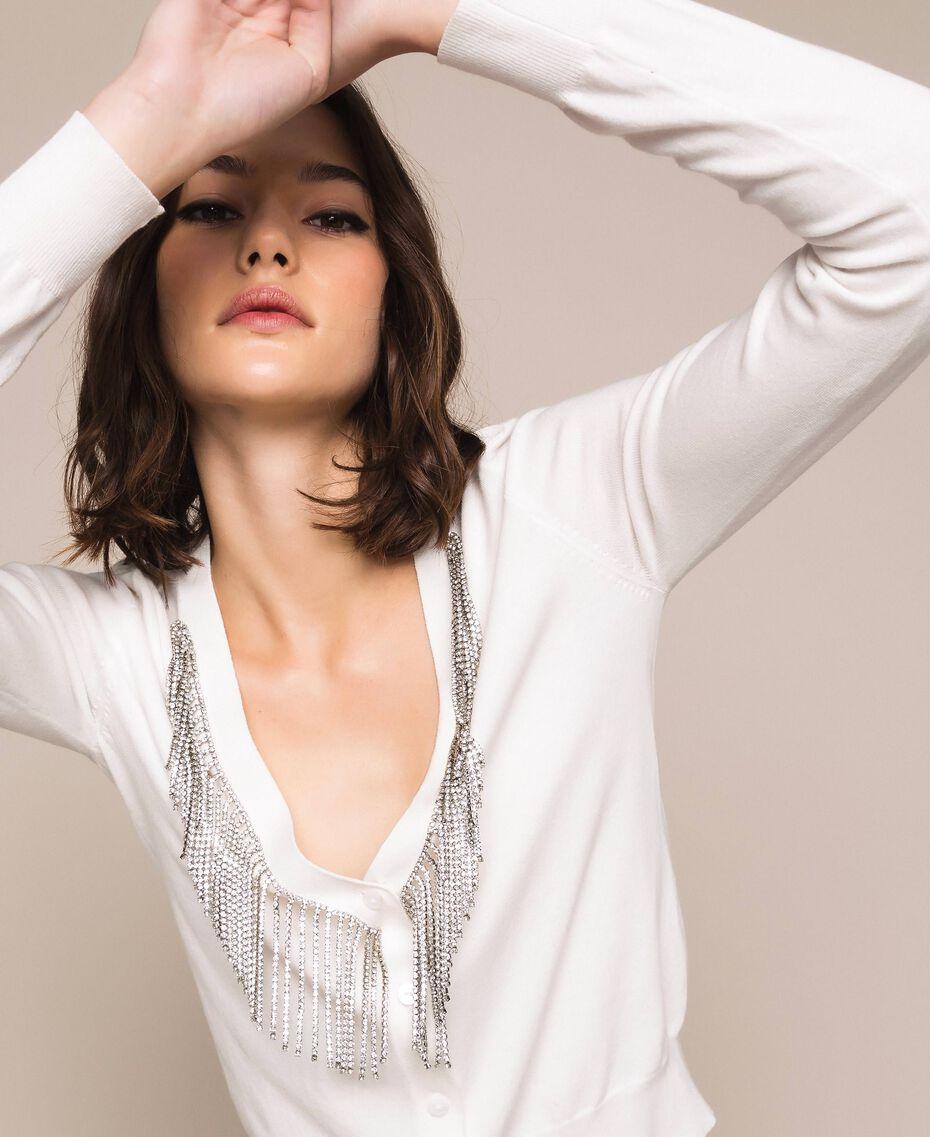 Cardigan décoré de franges en strass Blanc Neige Femme 201TP3083-01