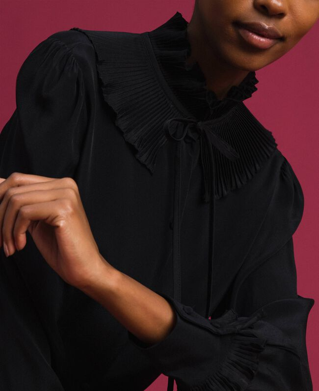 Crêpe de Chine silk blend shirt Black Woman 192TP2100-04