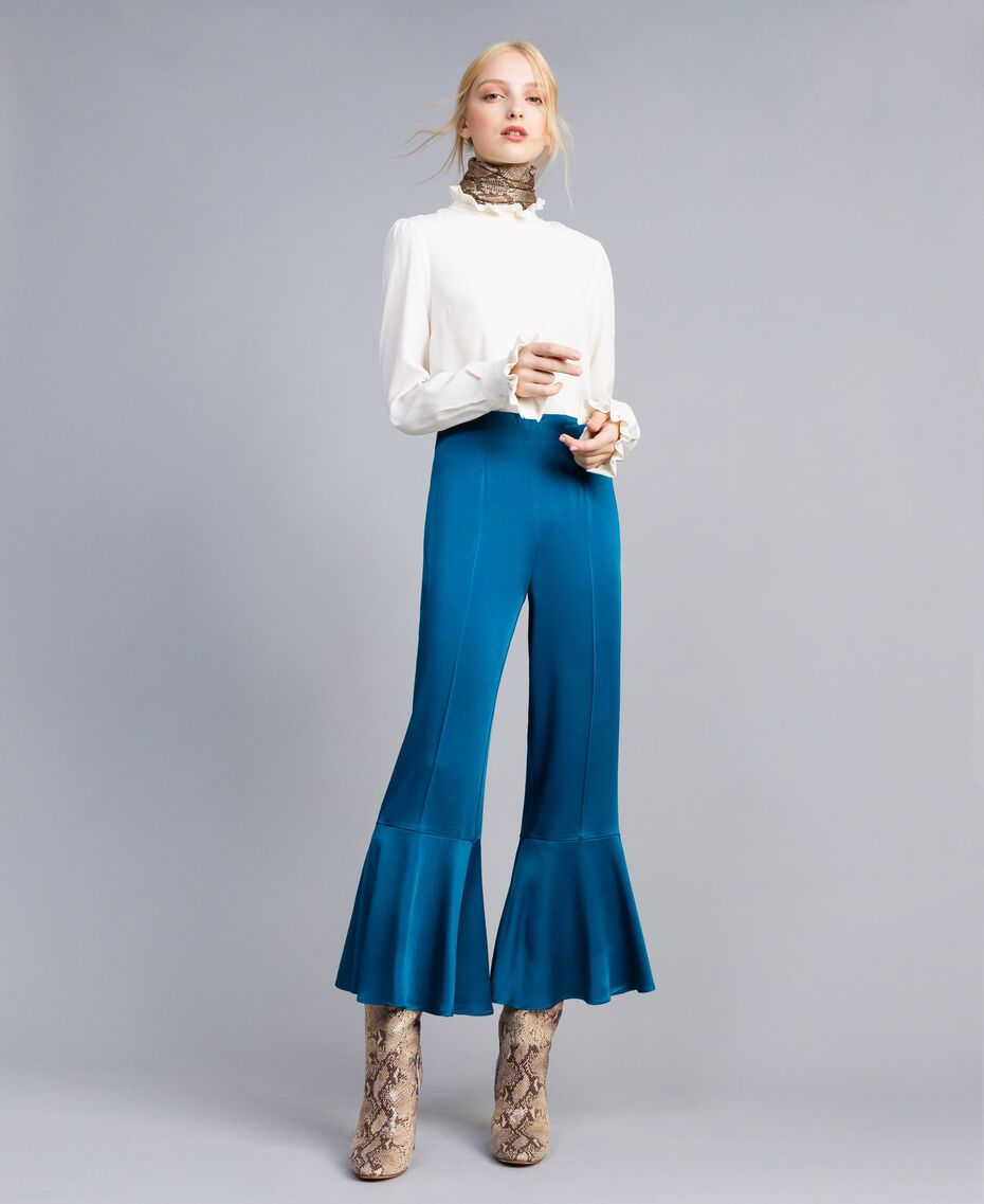 Pantacourt en envers satin Bleu Sarcelle Femme TA824E-01