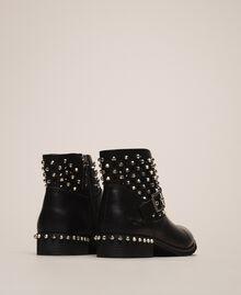Biker boots with rhinestones and logo Black Woman 201MCP040-02