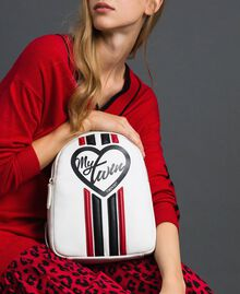 "Faux leather backpack with bands and logo ""Vanilla"" White/ ""Poppy"" Red Woman 192MO8051-0S"