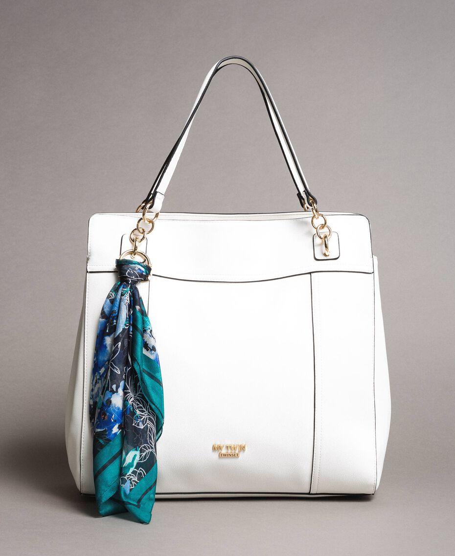 Hobo-Bag aus Lederimitat mit Halstuch Mattweiß Frau 191MO8102-02