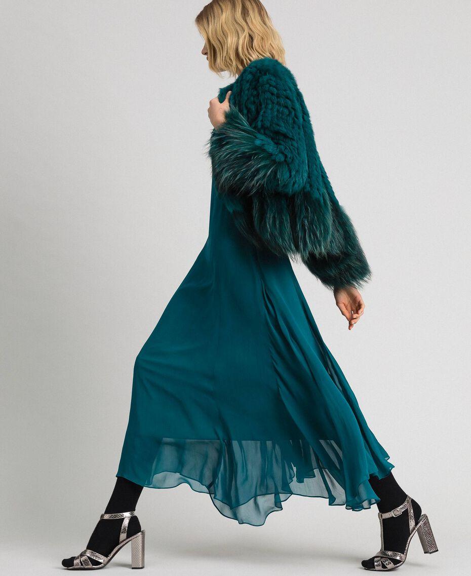 Robe longue en crêpe georgette avec broderies florales Bleu Vert minéral Femme 192TP2161-0T