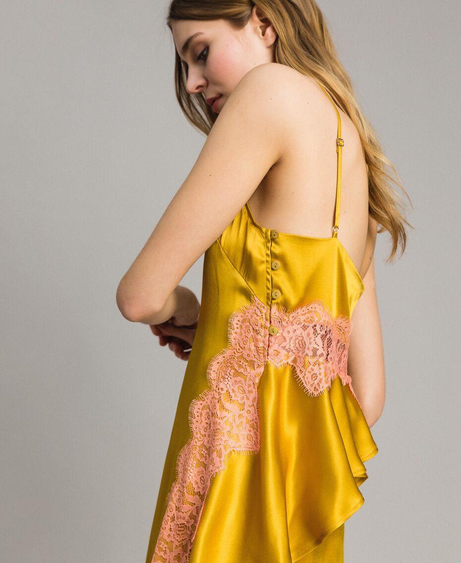 """Robe en soie et satin agrémentée de dentelle Bicolore Or """"Miel Doré"""" / Rouge """"Pomme Sauvage"""" Femme 191TT2090-01"""