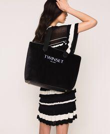Бархатная сумка-шоппер с пошетом Черный женщина 999TA7010-0S