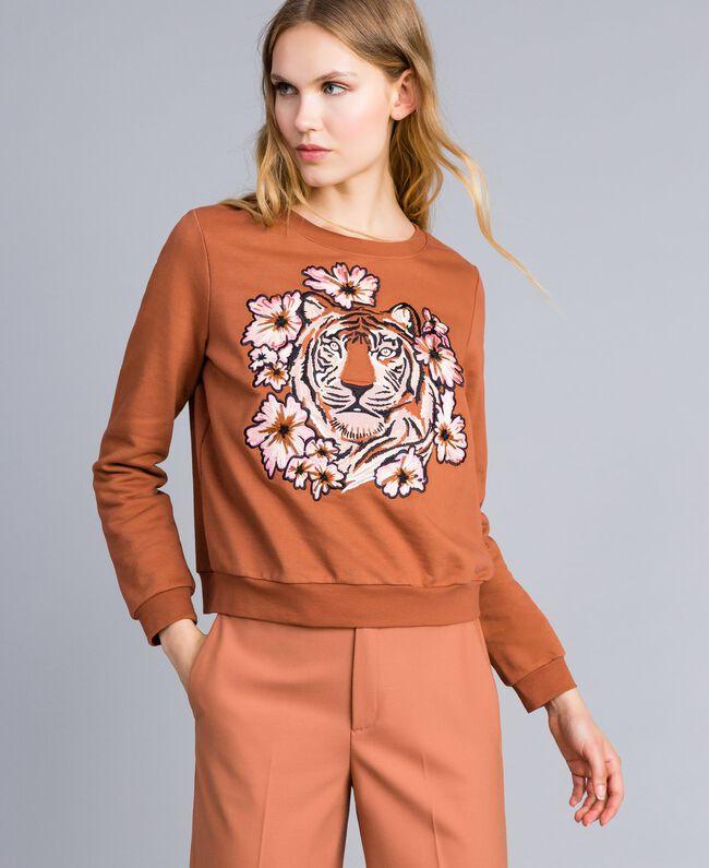 Sweatshirt aus Baumwolle mit Stickerei Erdbraun Frau TA82ZA-01