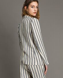 """Veste en lin à rayures bicolores Bicolore Noir / Beige """"Pâte d'Amande"""" Femme 191TT2310-03"""