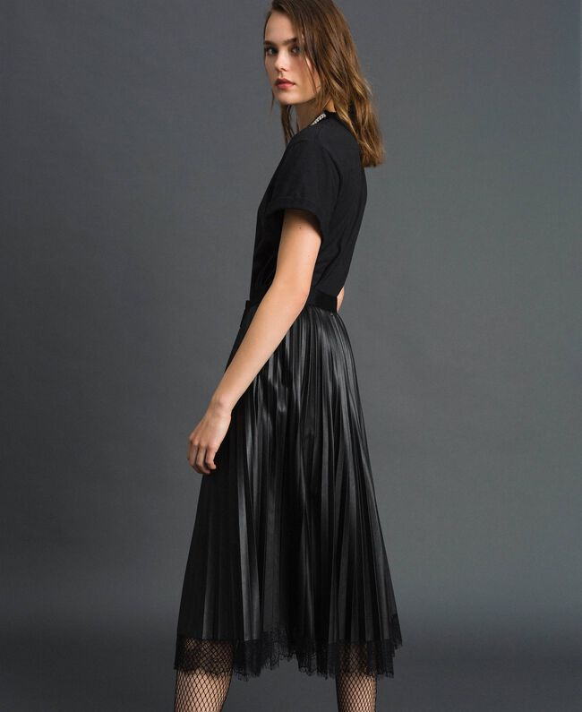 Faux leather pleated midi skirt Black Woman 192TP2064-01