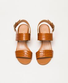 Leather sandals with croc print Crocodile Leather Print Woman 201TCT014-04