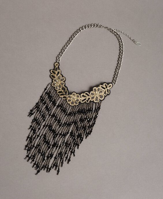 Choker necklace with beaded fringes