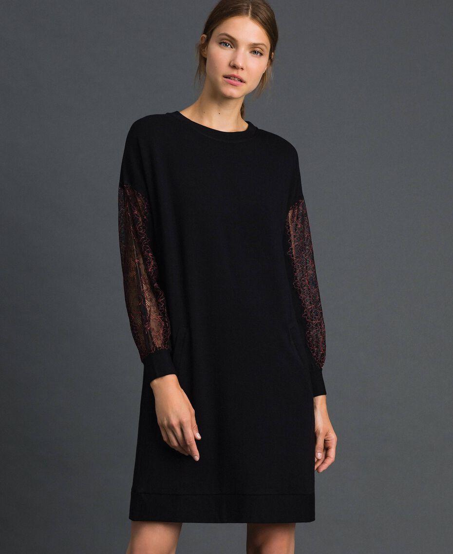 Robe en molleton avec dentelle bicolore Noir Femme 192LI24CC-02