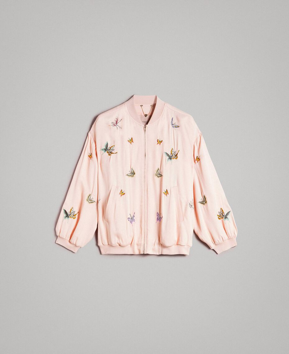 """Satin bomber jacket with butterfly embroidery """"Rose Sand"""" Pink Woman 191TT2111-0S"""