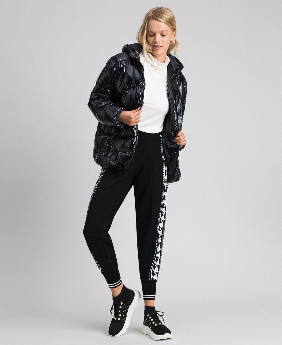 """Jogging trousers with lurex band on the sides Black / """"Vanilla"""" White Woman 192MT3111-02"""