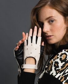 "Two-tone leather gloves with studs Black / ""Vanilla"" White Woman 192MO5393-0S"