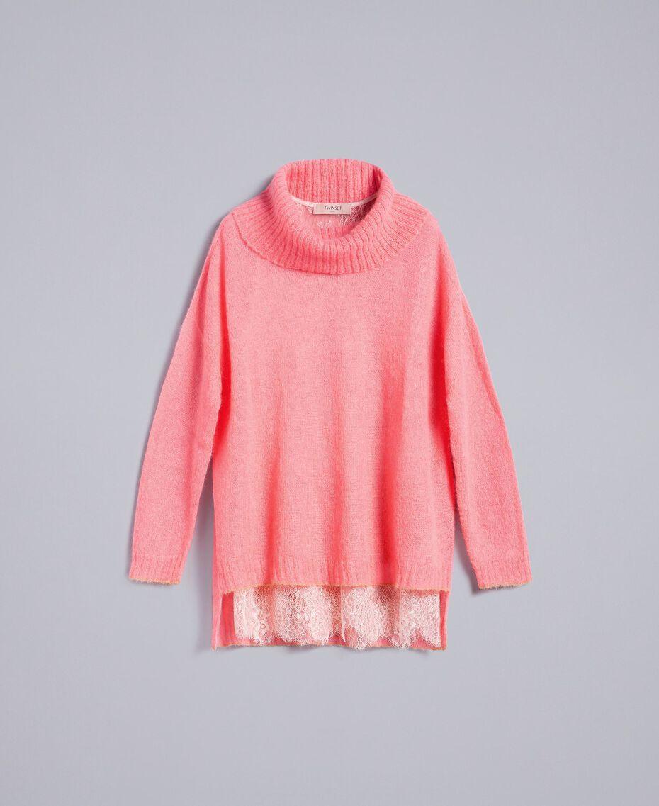 Pull en mohair avec top en dentelle Rose Royal Pink Femme PA836F-0S