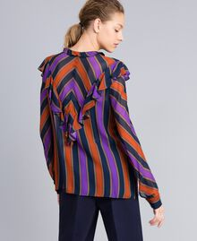 Blusa de georgette de rayas Estampado Raya Multicolor Mujer TA8291-04