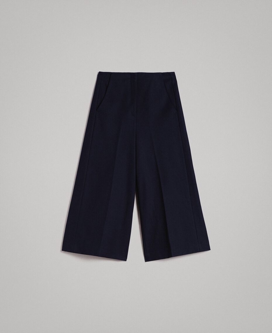 Cotton cropped trousers Deep Blue Woman 191TP2230-0S