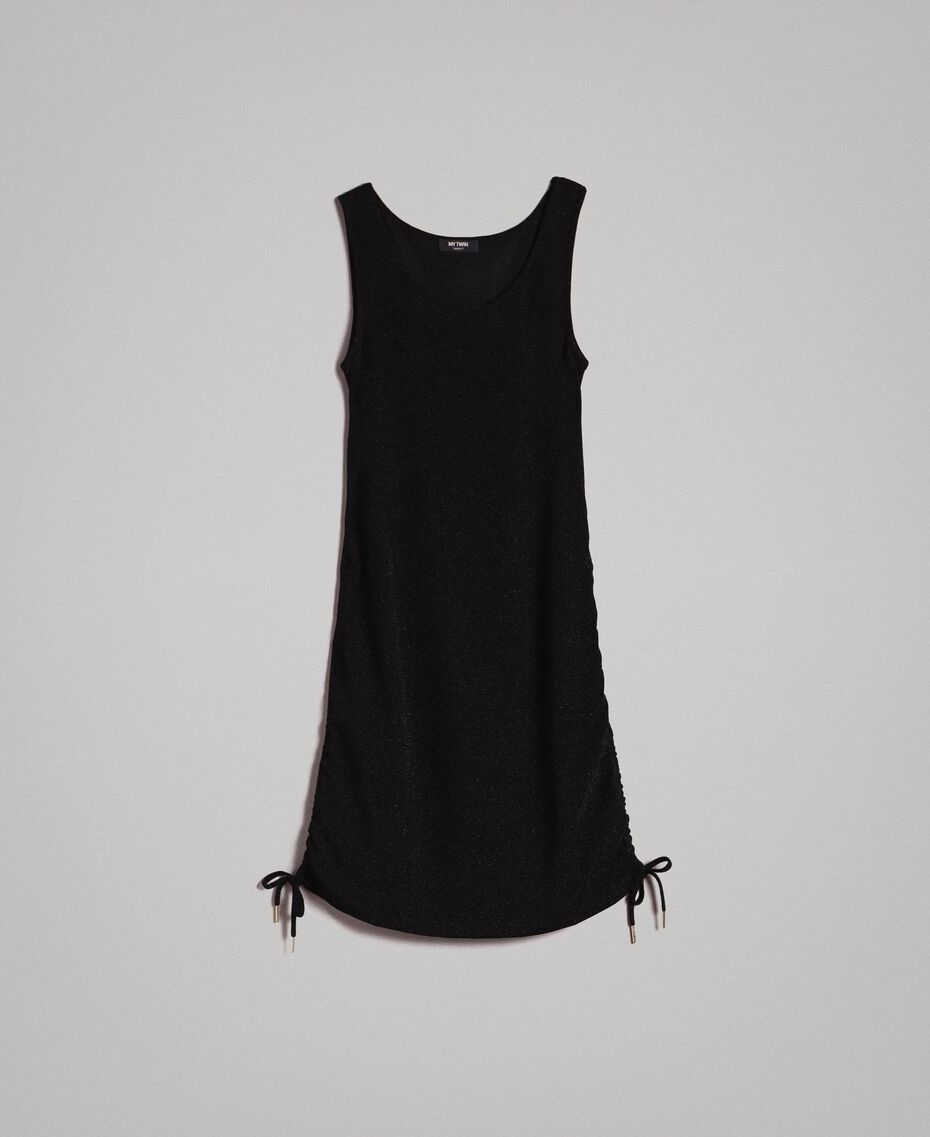 Minikleid aus Lurex mit Tunnelzug Schwarz Frau 191MP2023-0S