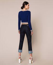 "Contrasting trim cropped cardigan Multicolour ""Ultramarine"" Blue /""Hemp"" Beige / Vanilla Woman 201MP3051-03"