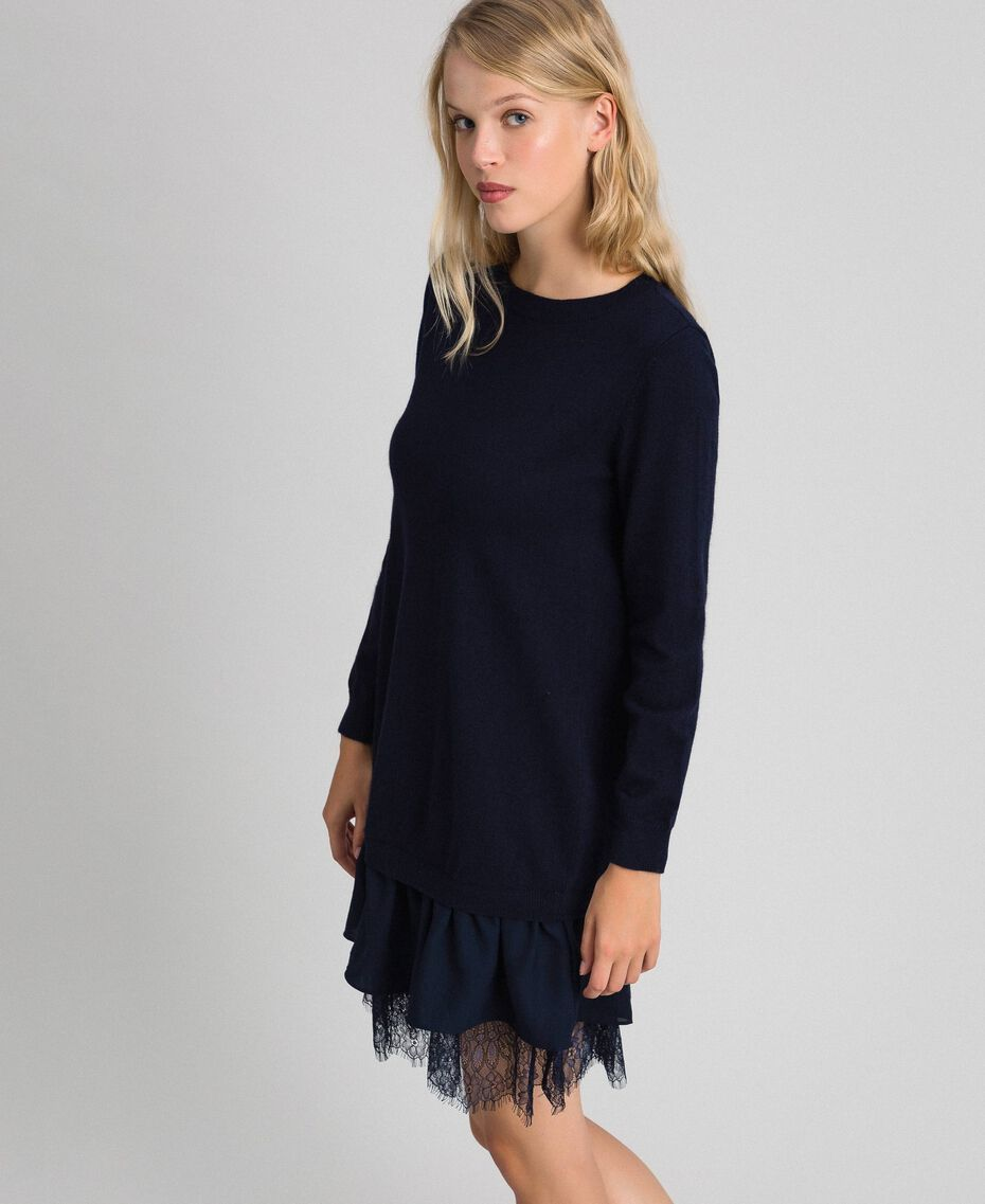 Wool blend dress with lace Indigo Woman 192MT3281-02