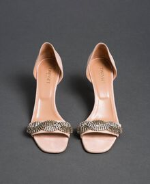 "Suede sandals with rhinestones ""Nude"" Beige Woman 192TCP12C-04"
