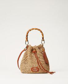 Weaved raffia bucket bag Straw Woman 211TD8241-02