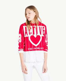 Cropped top Two-tone Cherry Red / Optical White Woman JS83HP-01