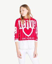 Pull court Bicolore Rouge Cerise / Blanc Optique Femme JS83HP-01