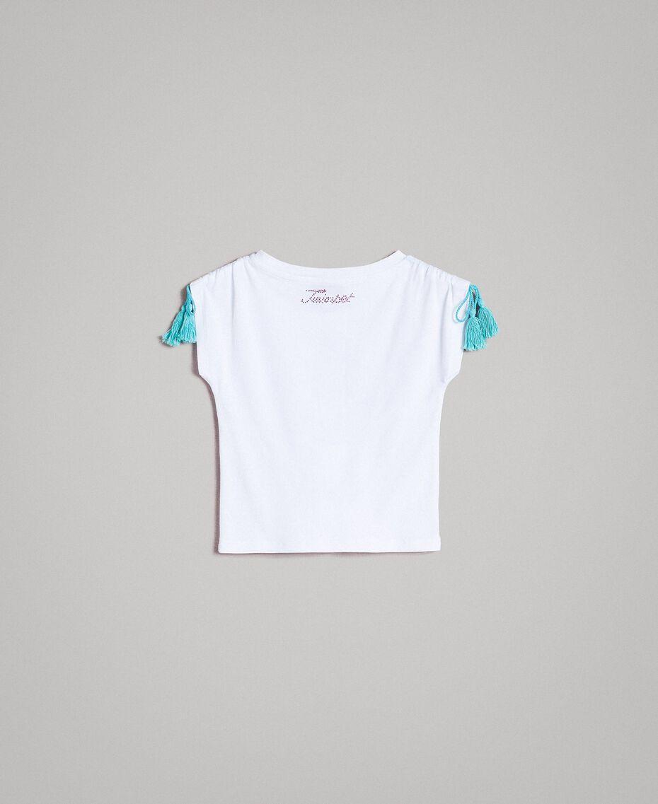 Jersey T-shirt with print and rhinestones White Child 191GB2512-0S
