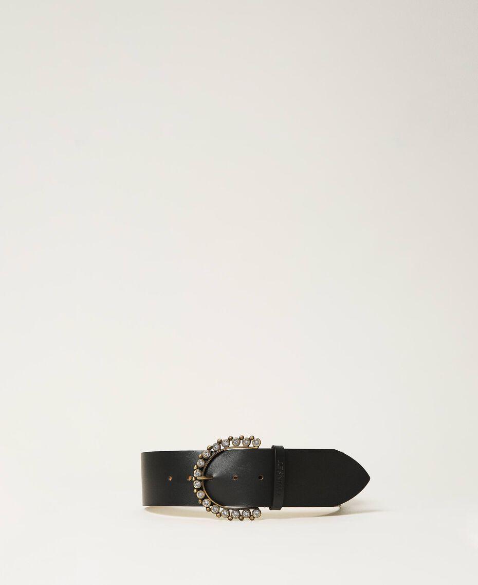 Cinturón de piel con hebilla joya Negro Mujer 211TO5061-01