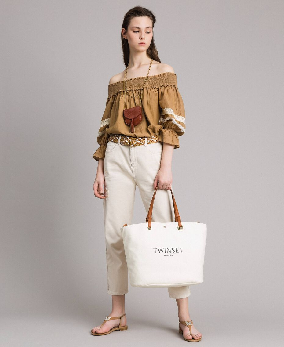 """Girlfriend trousers with embroideries """"Shell"""" Beige Woman 191MT2192-0T"""